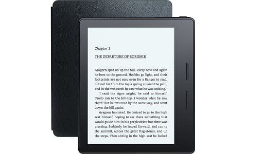 All-New Kindle Oasis with Leather Charging Cover, 6'' High-Resolution Display (300 ppi), Wi-Fi (Black)