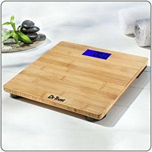 Dr. Trust Modern Genuine Luxury Bamboo Personal Scale with Digital Blue Backlight Screen Weighing Scale
