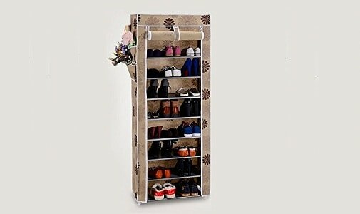 House of Quirk 9 Layer Portable Multi Utility Shoe Rack Organizer (Grey)