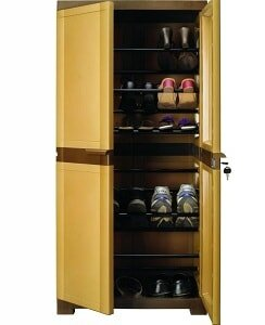 Nilkamal Freedom 18 Mini Shoe Cabinet (Sandy Brown and Dark brown)