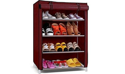PAffy Shoe Cabinet, 4-5 Layer, Shoe Rack Organiser, Colour - Maroon